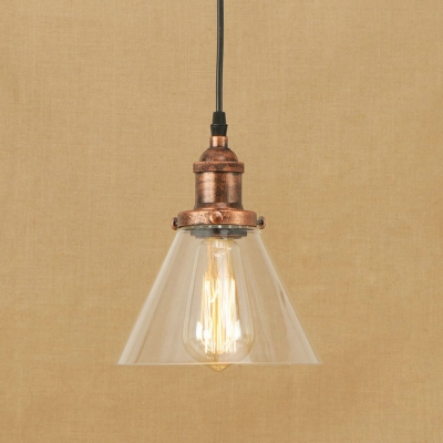 Industrial Style Ceiling Pendant 1 Light Cone Shape Clear Glass LED Lighting
