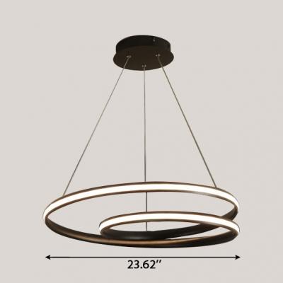 Modern Lighting Black LED Pendant Light in Acrylic Cord Adjustable