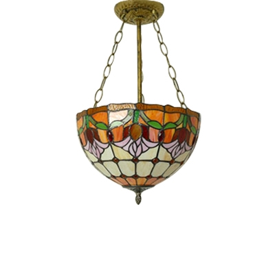 12/14 Inch Wide Gorgeous Tulip Pattern Bowl Shade Pendant Lighting Fixture for Living Room Dining Room