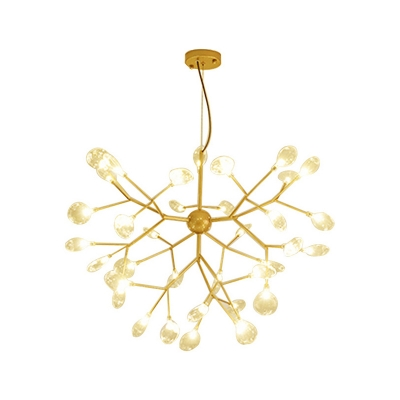 Clear Glass LED Firefly Chandelier 27/36/45 Light Height Adjustable Brass Heracleum Chandeliers for Living Room Bedroom Restaurant 3 Sizes for Option