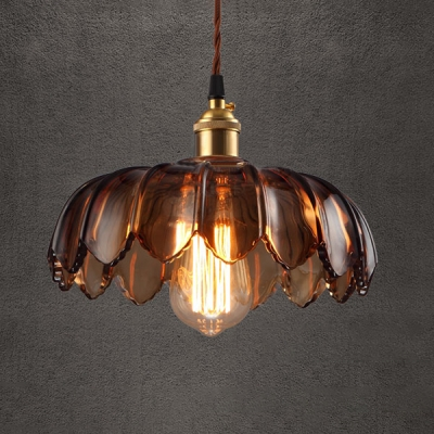 Industrial Style Hanging Pendant Single Light with Brown Glass Floral Shade in Brass for Cafe Warehouse, HL490479