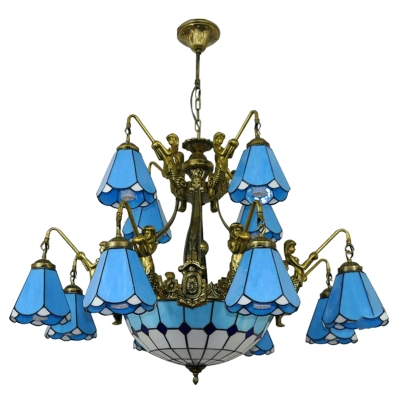 White/Blue Magnolia Shade Tiffany Stained Glass Chandelier with Mermaid Shaped Arms