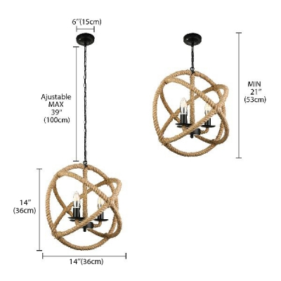 3 Light Twine Ceiling Lamp Rope Globe LED Chandelier 16'' Wide