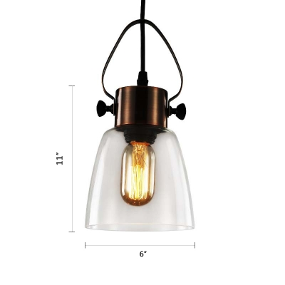 Copper Finish Mini Pendant Light Retro Style Clear Glass Shade Single Bulb Suspended Light