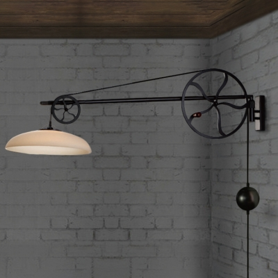 Adjustable Bowl Shade Wall Light in White Glass with Wheels Decoration for Restaurant