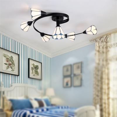 Bedroom&Living Room 6-Head White Magnolia Semi Flush Light in Contemporary Simple Style