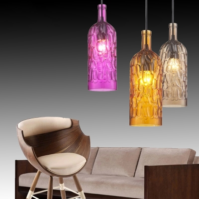 Industrial Style Multi-Color Ceiling Mini Pendant 1 Light Bottle Shape for Cafe Hallway Stairs
