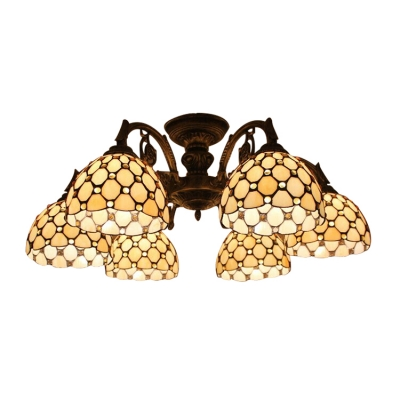Yellow Beads Accented Dome Shade Semi Flush Mount Ceiling Light for Living Room 2 Designs for Option