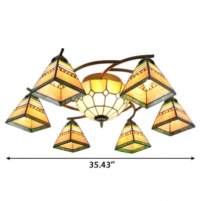 Yellow Geometric Patterned Center Bowl Ceiling Light Fixture with 6/8 Pyramid Shades for Living Room&Hotel Lobby
