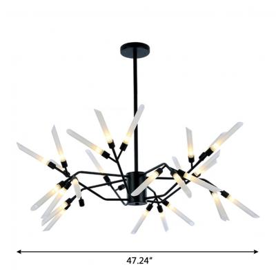 Black LED Multi Light Chandeliers 18/24/30 Light Stainless Steel LED Spur Chandelier for Staircase Foyer Porch Living Room