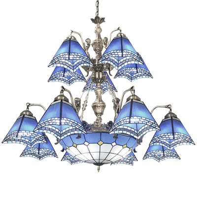 Blue Stained Glass Nautical Style Center Bowl Chandelier with Mermaid Arms in Nickel Finish