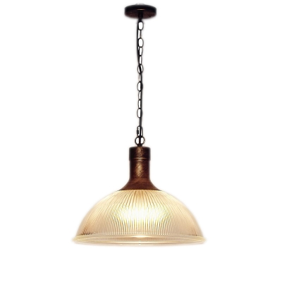 Industrial Style Dome Hanging Light with Ribbed Glass Single Head Suspension Light in Rust for Cafe