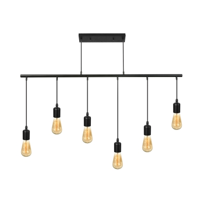 Vintage 6 Light Edison Bulb Large Pendant Light Industrial Black Finish Linear Chandelier for Kitchen Island Restaurant