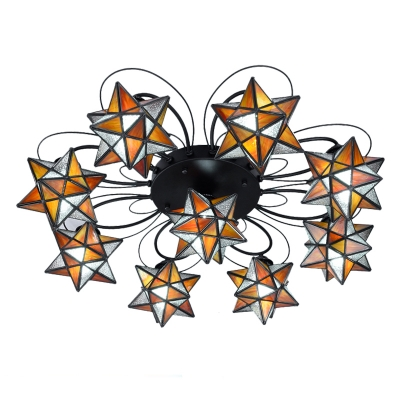 5+1/8+1 Lights Yellow Star Shaped Shade Ceiling Light in Casual Style for Kids Room Restaurant