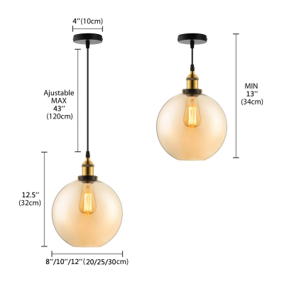 Amber Glass Globe Pendant Light in Aged Brass Vintage Single Light Pendant for Foyer Kitchen Restaurant