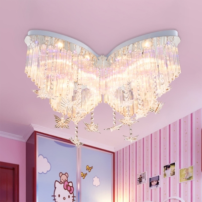 Butterfly Led Chandelier Girls Bedroom Hanging Crystal