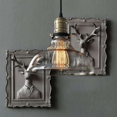 Industrial Style Pendant 1-Light Indoor Ceiling Fixture with Crystal Clear/Amber Glass Shade in Bronze Finish