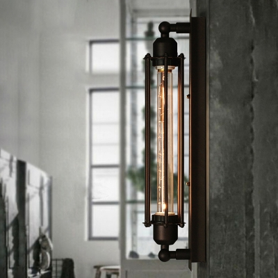 Retro Loft Pipe Steam LED Wall Sconce in Black with Wire Cage Stairs Hallway Porch Wall Lighting