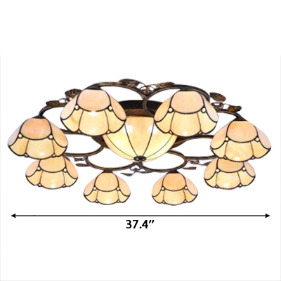 Nature Inspired Blue/Yellow Flower Shade Flush Mount Ceiling Light with Center Bowl for Living Room