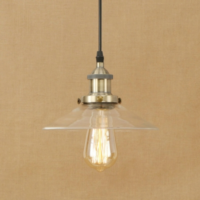 Clear Glass Hanging Pendant 1 Light Saucer Shade in Industrial Style for Hallway Cafe Restaurant HL490345 фото