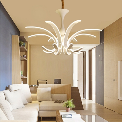 Creative Exclusive Modern Indoor Lights LED 8 Light Acrylic Petal Chandelier for Dining Table Living Room Bedroom