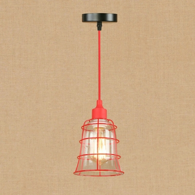 Industrial Vintage Hanging Pendant Light with Red Metal Cage Frame and Clear Glass Shade