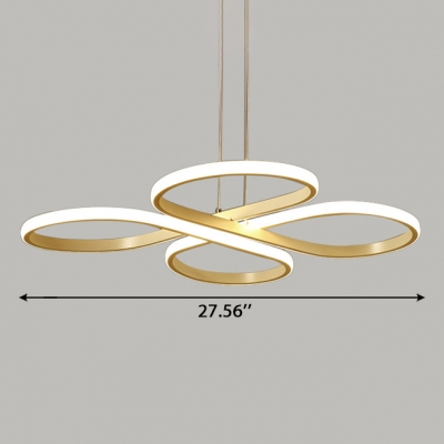 LED Accent Lights for Restaurant Dining Room Cafe LED Acrylic 4 Ring Chandelier in Gold Modern Petal Pendant Lighting