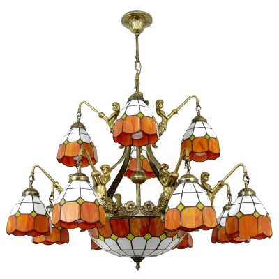 Orange&White Checkered 1/2-Tier Tiffany Stained Glass Chandelier with Center Bowl
