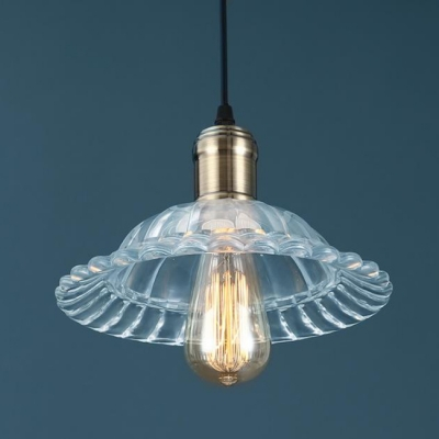 Vintage Style Pendant 1 Light with Shallow Round Flared Glass Shade in Bronze for Warehouse Restaurant