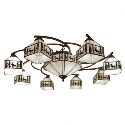 Elk&Woods Designed Square Shade Semi Flush Light with Octagonal Middle Shade in Lodge Style
