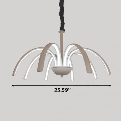 Modern Indoor Lighting White LED Octopus Chandelier 80W High Bright Metal Multi Light Pendant for Study Room Bedroom Living Room