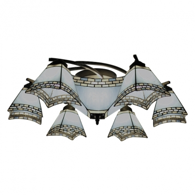 Nautical Style Light Blue Pyramid Shade Semi Flush Light Fixture with Inverted Middle Shade 2 Sizes for Choice