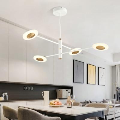 Post Modern LED Disc Chandelier for Living Room Restaurant Clothes Stores 4/6/8 Light 24/36/48W 4000K Metal Multi Light Eye Spy Chandelier in White