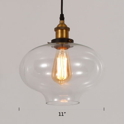 Vintage Style Vase Ceiling Pendant Clear Glass 1 Light Hanging Lamp in Brass for Foyer Dining Room