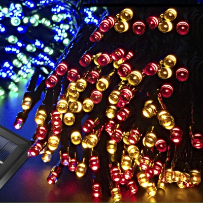 2 Modes Steady on / Flash 106ft Multi Color 300 LEDs Solar Outdoor String Light for Christmas