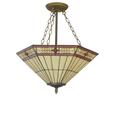 Elegant Patterned Simple Inverted Hanging Light with Tiffany Art Glass Shade