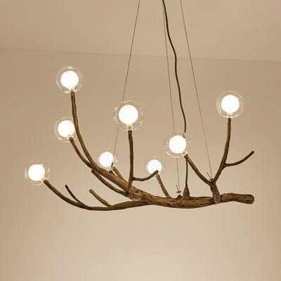 Modern Height Adjustable Wood Branching Chandelier 24/36/48W LED 8/12/16 Light Glass Globe Chandelier for Living Room Restaurant Bar Bulb Included