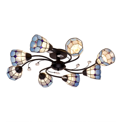 Orange/Blue Checkered Tiffany Glass Shade Ambient Light Semi Flush Mount with Crystal Decorations