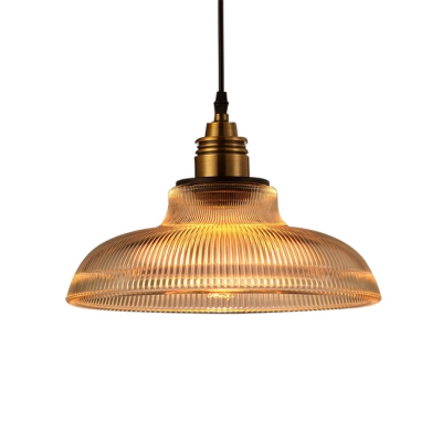 Vintage Style Hanging Pendant 1 Light with Pot Cover Clear Glass in Brass Finish for Dining Room Clothes Stores, HL490276