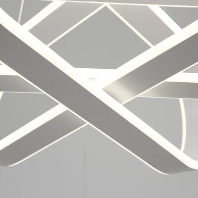 Bright LED Neutral Light 23.5 Inch Long 3 Light Oval Ring Chandelier in Acrylic 115W 4000K Modern Multi Light Pendant for Dining Room Restaurant