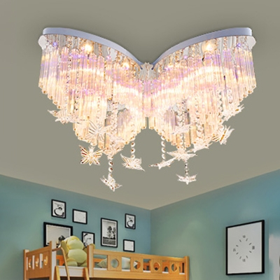 Butterfly LED Chandelier Girls Bedroom Hanging Crystal ...