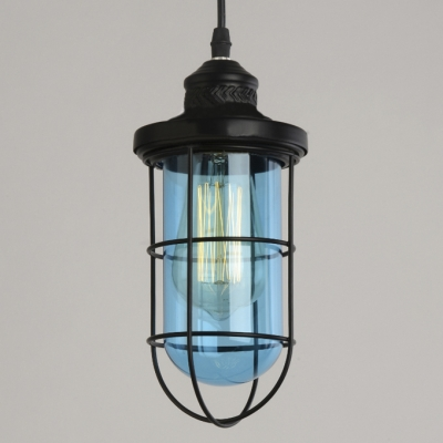 Industrial Style 1 Light Cage LED Pendant Lighting in Black Finish