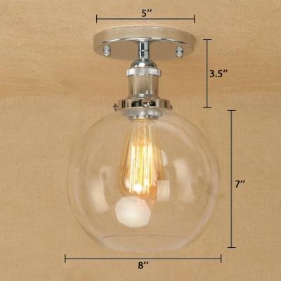 Polished Chrome Rust Globe Flush Mount Light In Clear Gl For Kitchen Foyer Hallway