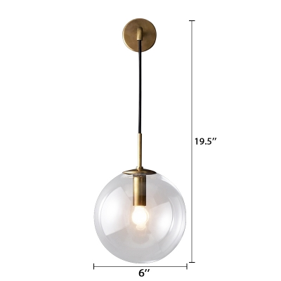 Vintage 1 Light Globe Wall Sconce Clear Glass Suspender Wall Lighting 6