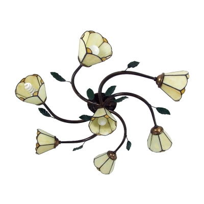 7-Bulb Style Ambient Light Yellow Flower Semi Flush Ceiling Light with Branch Shaped Arms