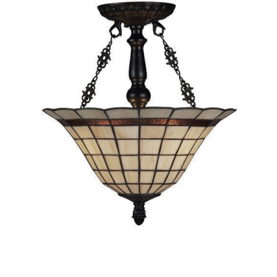 Basket Shaped Beige Glass Shade Inverted Hanging Pendant Light in Black Finish 14.17 Inch Wide