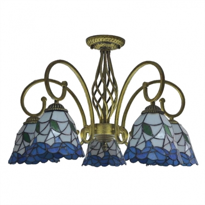 Blue Flower Patterned Shade Semi Flush Light Fixture with Cured Arms in Aged Brass Finish
