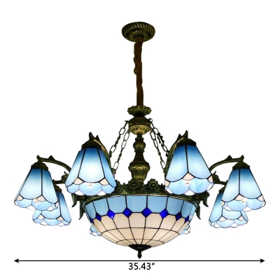 Blue Magnolia Designed 6+1/8+1 Chandelier with Stained Glass Center Bowl in Mediterranean Style