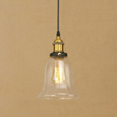 Industrial Mini Pendant 1 Light LED with Bell Shape Clear Glass in Brass for Hallway