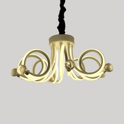 Modern Crystal Chandelier 80W 6500K High Brightness Acrylic Octopus Chandelier Light in White for Living Room Stores Dining Room